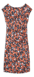 Dress with watercolour floral print -Coral