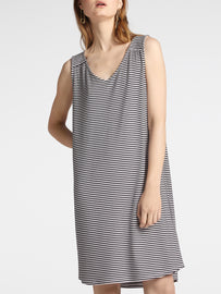 Viscose stripe french terry dress -Black