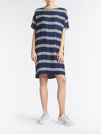 Oversized T-shirt dress with stripes -Navy