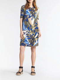 Dress with colourful print -Spring Olive