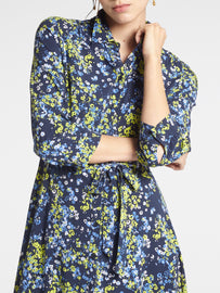 Maxi dress with floral print -Navy