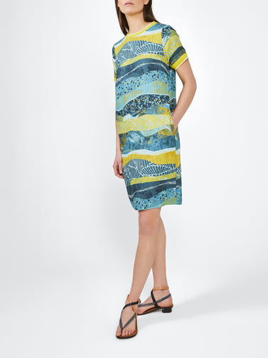 Dress with all-over print -Deep Water Green