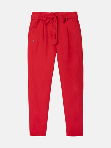 Paper bag trousers - Pop Red