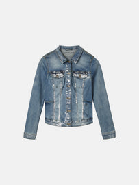 Jeans jacket with silver foil coating - Medium Blue Denim