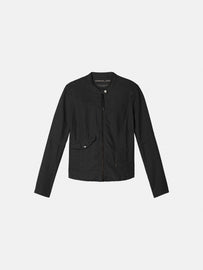 Linen biker jacket - Almost Black