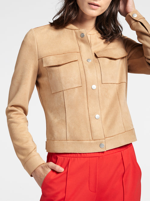 Bomber jacket with unfinished seams - Camel -Camel-Beige