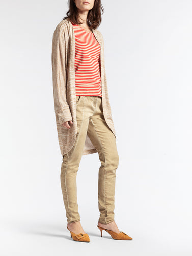 Long open-fit cardigan in mottled fabric  -Camel-Beige HTR