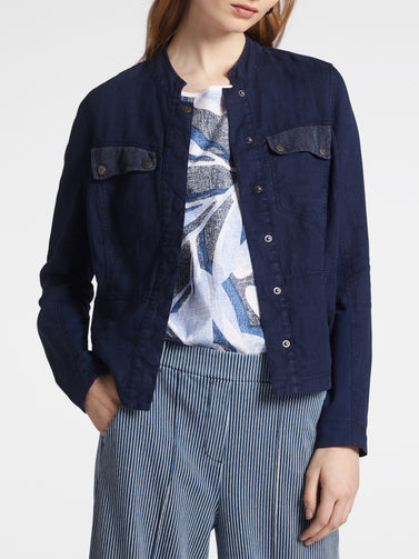 Linen jacket with mesh details -Navy