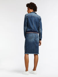 High waist denim skirt with button closure - Medium blue denim