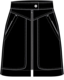 Skirt with front zipper  -Black