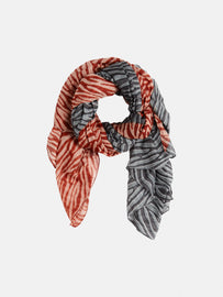 Scarf with zebra print in two colours - Burned Red