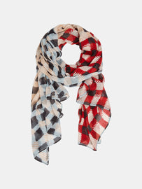 Scarf with check print - Pop Red