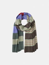 Fine-knit scarf with stripes -Granite Green