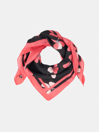 Scarf with floral print -Black