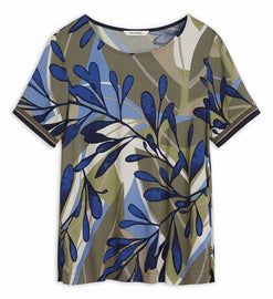T-shirt with multicoloured all-over print -Spring Olive