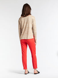 Blended sweater with deep side slits - Camel-Beige HTR