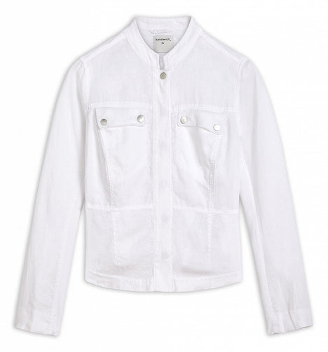 Linen jacket with mesh details -Pure White
