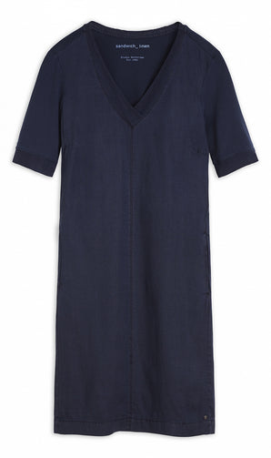 Linen dress with mesh details -Navy