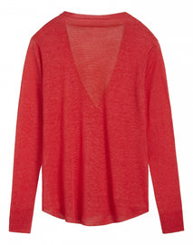 Cardigan with single snap button - Pop Red