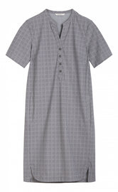 Plaid travel jersey dress - Anthra