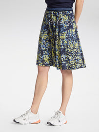 Skirt with colourful floral print -Navy