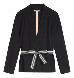 Stretchy blazer with belt - Black