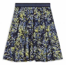 Skirt with colourful floral print - Spring Olive
