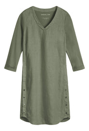 Linen dress with button details -Washed Sage