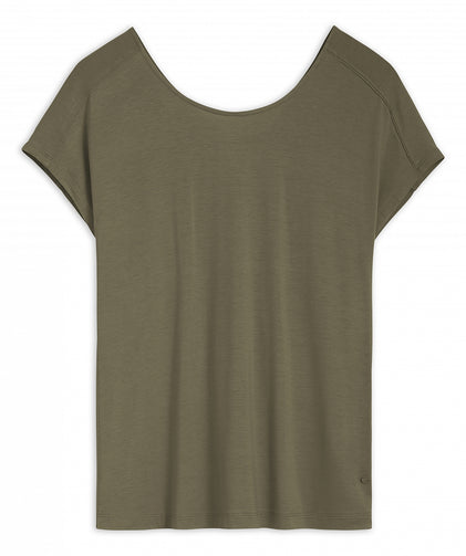 T-shirt with V-neck at the back -Spring Olive