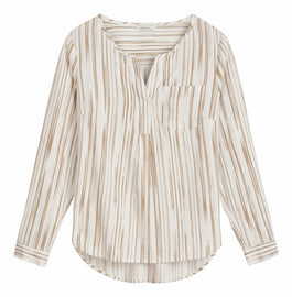 Striped blouse -Camel Beige