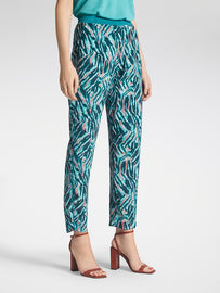 Printed crepe pant - Turquoise