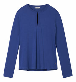 Supple long-sleeved top with button on the neck - Merlin Blue