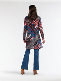 Long transparent blouse with multicoloured plaid - Intense Pink
