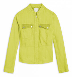 Linen jacket with mesh details -Light Olive