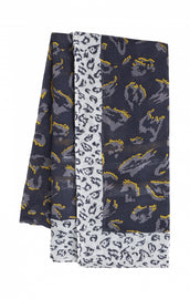 Scarf with print -Navy