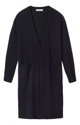 Mid-length cardigan with drawstring tunnel on the back  -Black