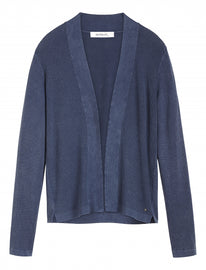 Open-fit cardigan with rib-knit details -Navy