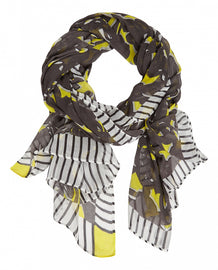 Lemon-print scarf with stripes – Iron