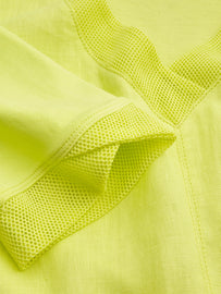 Linen dress with mesh details -True Lime