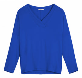 Top with V-neck overlay  -Signal-Blue
