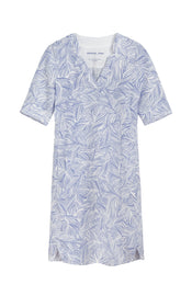 Linen dress with organic print -Signal Blue