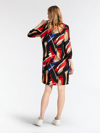 Colourful egg shape dress  -Red
