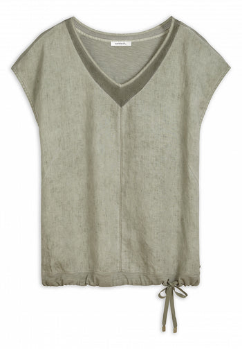 T-shirt with mesh details -Light Olive