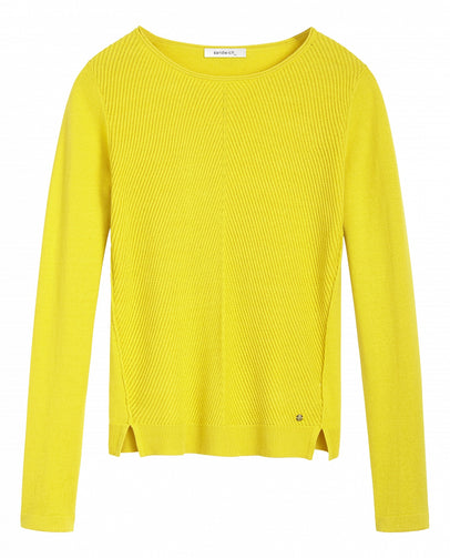 Comfortable sweater with rib-knit front -Mimosa
