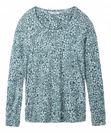 Top with flower print  -Aqua