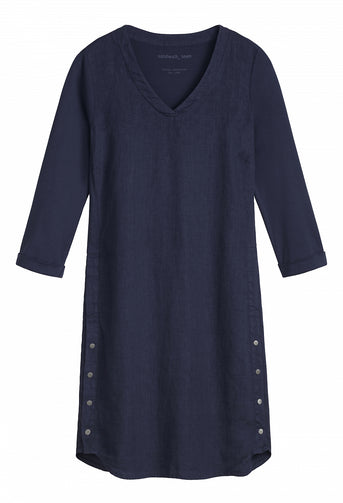 Linen dress with button details -Navy