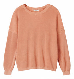Sweater with ribbed structure - Neon Coral