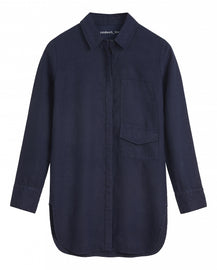Long linen blouse -Navy