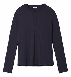 Supple long-sleeved top with button on the neck - Night Sky