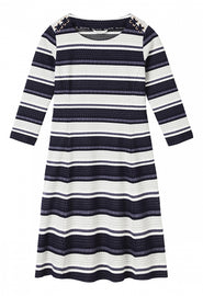 A-line shape striped dress with lace-up - Maritime Blue
